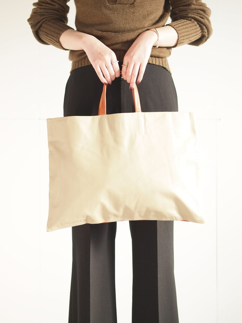 Leather tote bag (M)/Beige