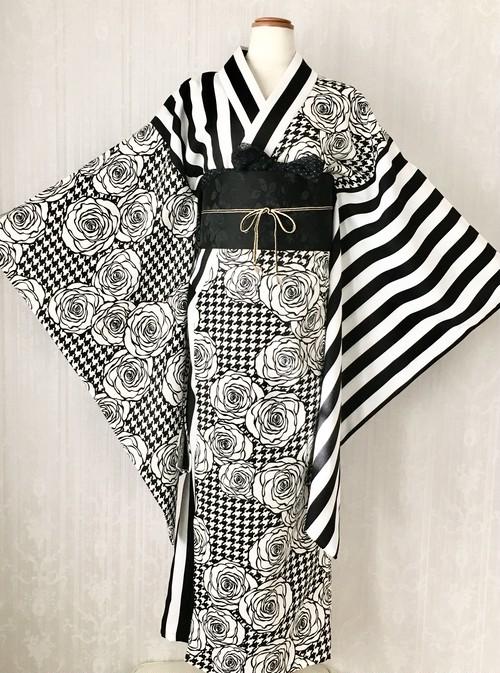 千鳥格子と薔薇×ストライプの着物
