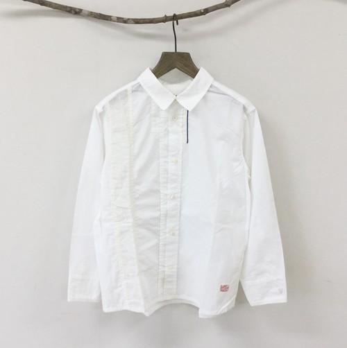 【快晴堂】白のパッチワークUNIシャツ / 11S-21G