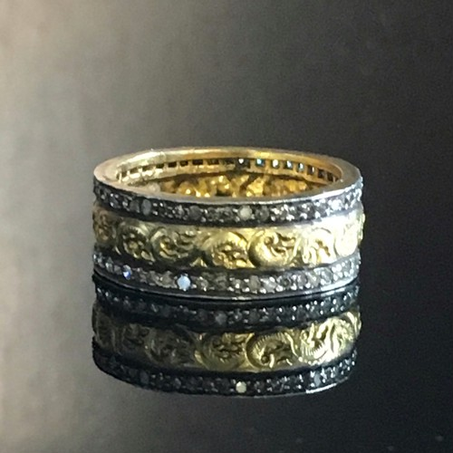 Gold and rose cut Diamond Eternity  Band