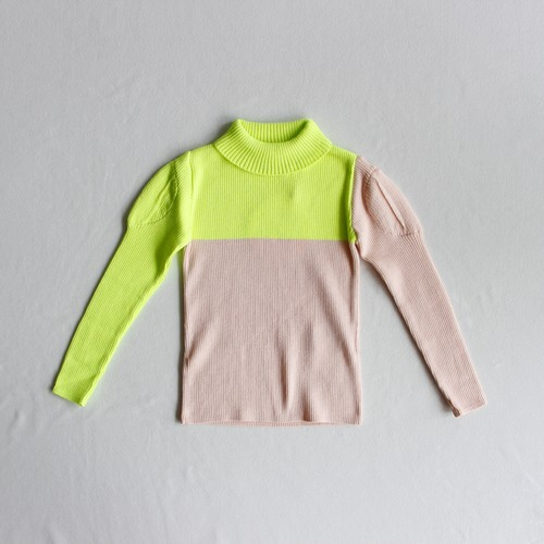 《frankygrow 2019AW》SWELL SHOULDER HIGH-NECKED KNIT / yellow × pink / S・M・L
