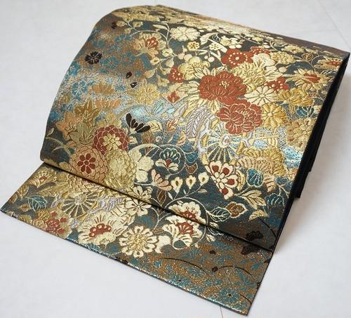 美品 花づくし 袋帯 牡丹 菊 唐花 袋帯 金糸 青緑 黒 192