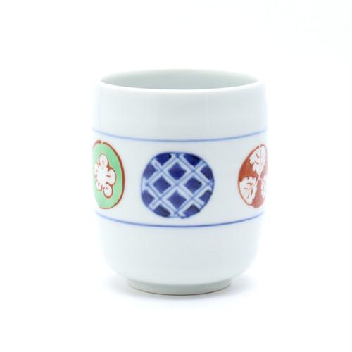 染錦丸紋 湯呑み(大)