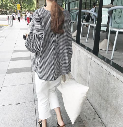 plaid lantern sleeve shirts 2466