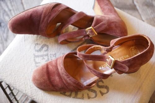 80's Walter Steiger pink suede heeled strap Pumps