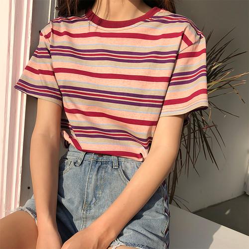 ♡stripe round neck t-shirt 5817