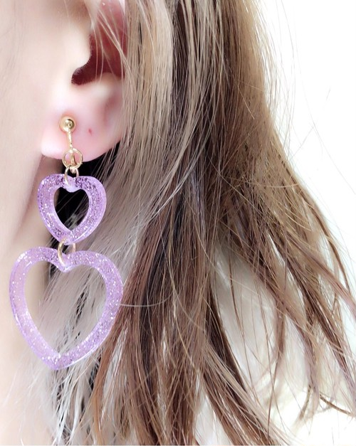 ◎SK brothers◎earring 2連ハート パープル