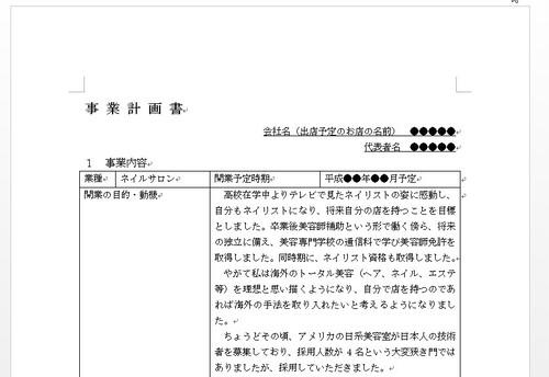 【ネイルサロン開業用】~日本政策金融公庫 創業計画書フォーマットサンプル