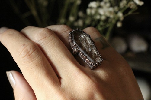 memento mori snake skin coffin ring: mourning series