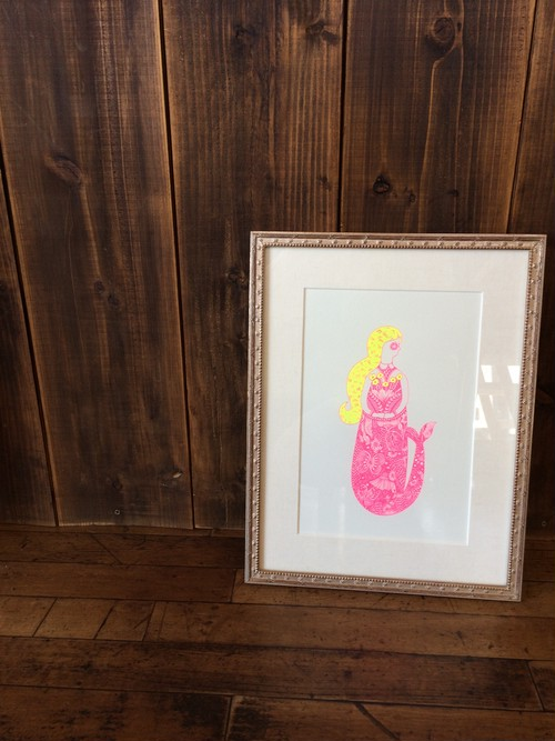 Shimizu Noriko Works シルクスクリーン 額装済 「Mermaid」