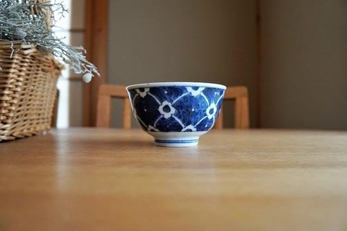 砥部焼/お茶碗/染付花/皐月窯
