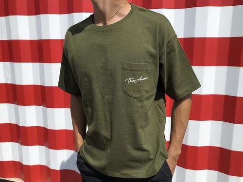 ThreeArrows ポケット付きBIGシルエットTシャツ(khaki)