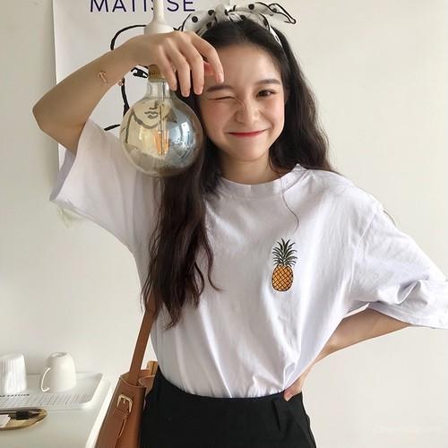 【トップス】フルーツプリント春夏スウィート韓国風カジュアルラウンドネック半袖Tシャツ