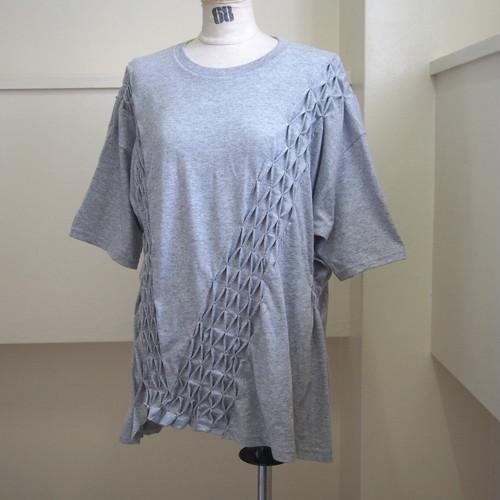【sandglass】smocking t-shirt(Gray) / 【サンドグラス】スモッキング Tシャツ(グレー)