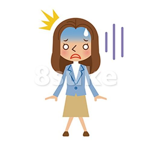 イラスト素材:驚き・ショックを受ける若い女性(ベクター・JPG)