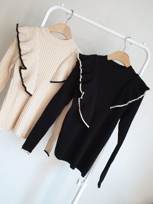 チェロフリルニット ニット 韓国ファッション
