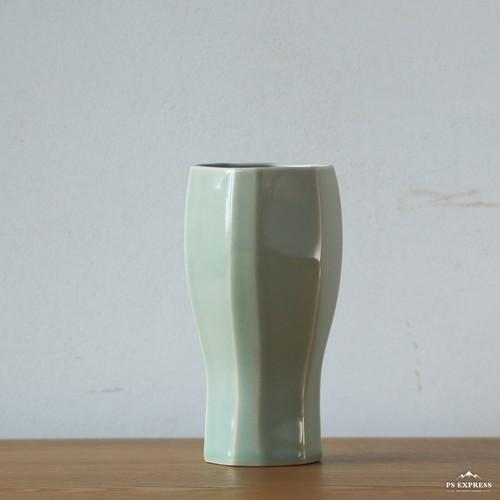 瀬戸焼 灰釉 緑 面取りビアカップ