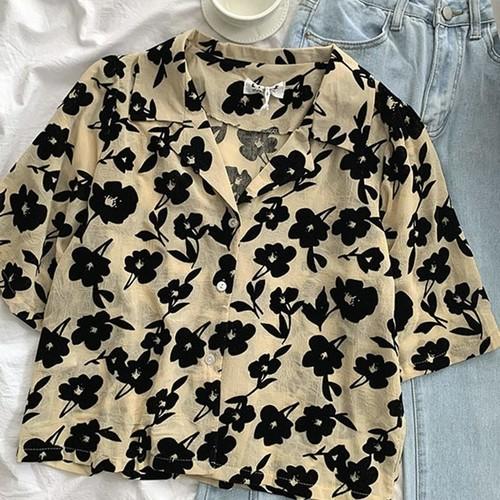 クール オシャレ カジュアル 折り襟 半袖 カラーブロック 花柄 着痩せ シャツ・トップス