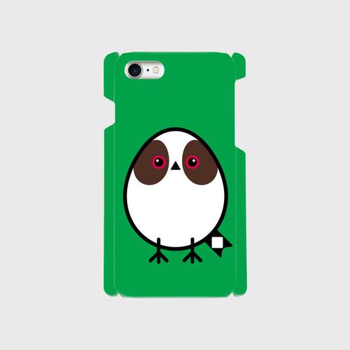 《癒やしの小鳥》シマエナガのオリジナルスマホケース(green)【送料無料】