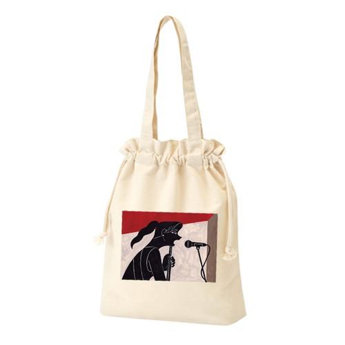 巾着トートバッグ【女性シンガープリント】Drawstring tote bag [Female singer print]