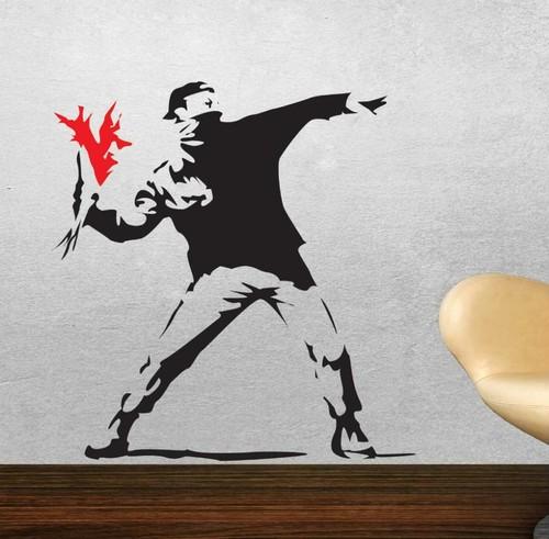 ウォール アートステッカ Banksy 【並行輸入品】花束を投げる人