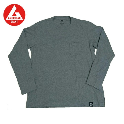 AMERICAN GIANT Heavyweight Longsleeve Pocket T-Shirt GREY