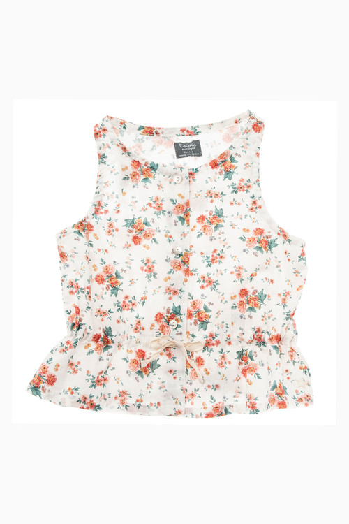 tocoto vintage Sleeveless flower blouse with waist ribbon