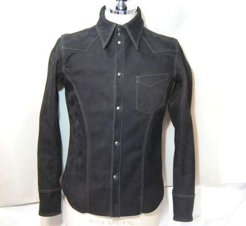 ホースハイドヌバックシャツ ブラック