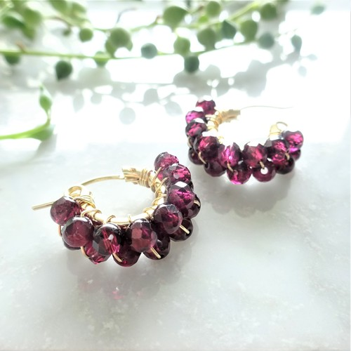 送料無料 14kgf♡AAA Garnet wrapped pierce/earring