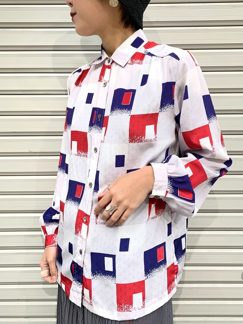 (TOYO) polyester design l/s shirt
