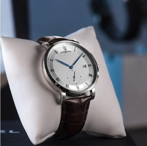 Carnival  自動巻機械式腕時計 メンズ 40mm 裏スケ レザーストラップ ローマ数字 シルバー/ローズゴールド