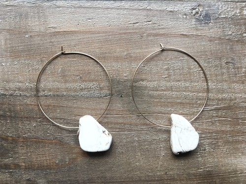 14kgf White stone big hoops