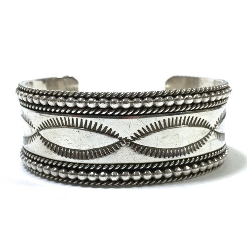 Navajo Vintage Sterling Silver Stamp Bangle by Ron Yazzie