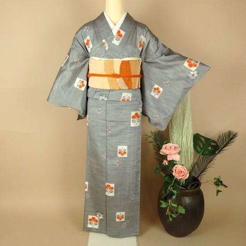 515夏用単衣紬の小紋と名古屋帯4点セット