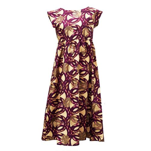 フレンチスリーブワンピース 「リングロープ」 ワインレッド × ベージュ / アフリカンファブリック アフリカンバティック ガーナ服