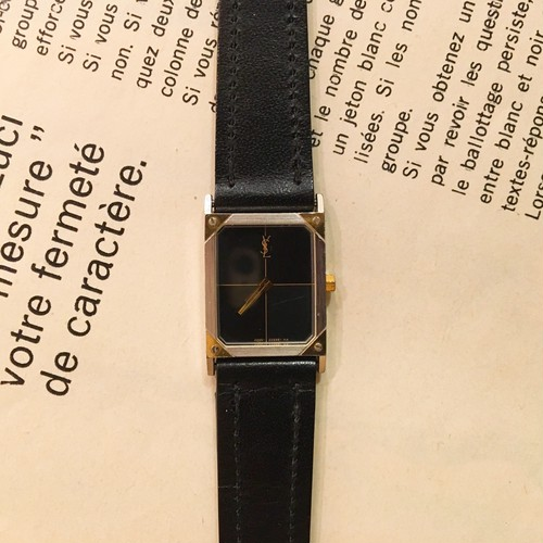 YSL square face leather belt watch