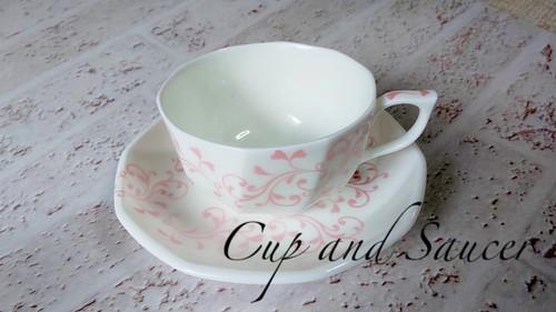 紅茶カップセット コーヒーカップセット 上品なアラベスク柄 シャンパンピンク 1点物