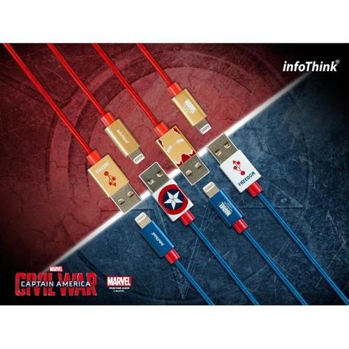 InfoThink USBケーブル MARVEL シビルウォー/キャプテンアメリカ iPhone iPad 急速充電同期ケーブル キャプテンアメリカ