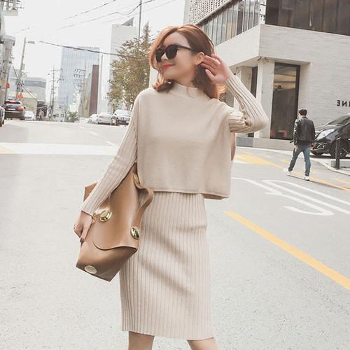 「セットアップ」ファッション女性らしいスリムニットワンピース+ミニベスト秋冬ニットセットアップ