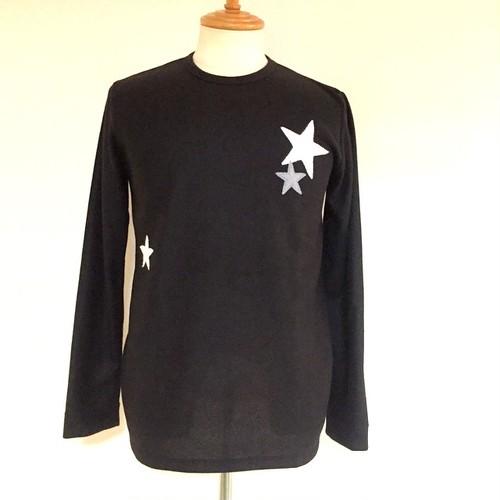 Star Patchwork Crew Neck Knit sewn Black