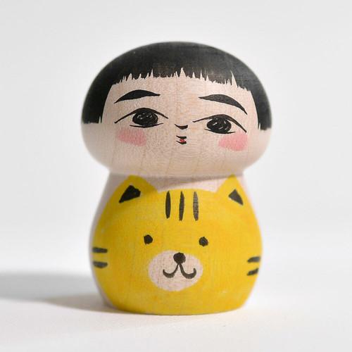 猫ちゃんこけし 約1.5寸 約4.7cm 長谷川優志 工人(津軽系)#0134