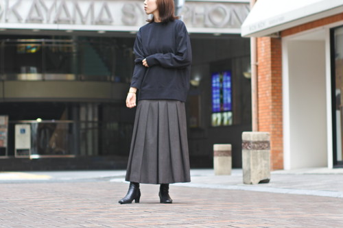 【Phlannèl】Winter Stripe Soft Pleated Skirt  Brown×Yellow