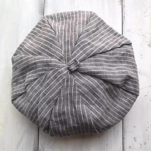 コットンベレー帽☆グレー×ホワイトストライプ