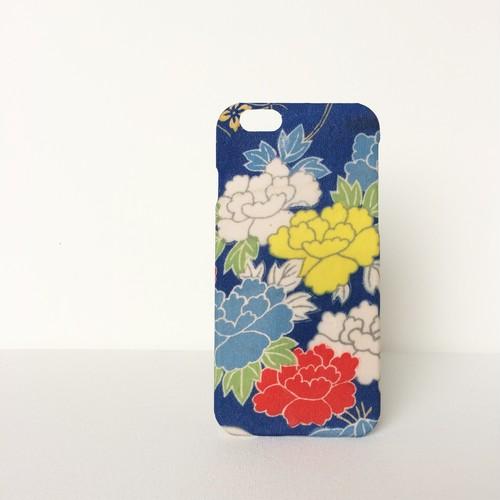 【 KIMONO 】希少☆アンティーク着物iPhoneケース(青に色牡丹)