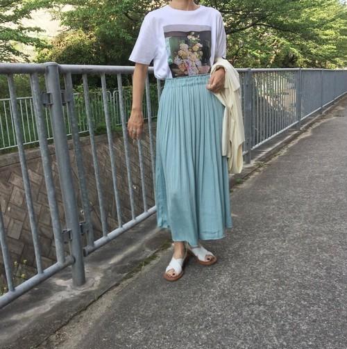 サテンギャザーフレアースカート:ミントグリーン