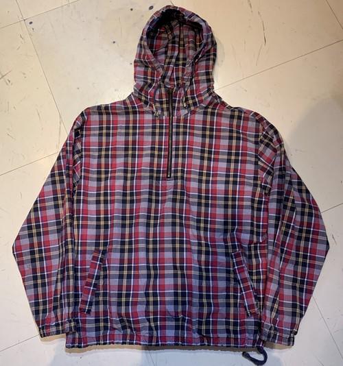 90〜00's Eddie Bauer Half Zip Cotton Check Parka M