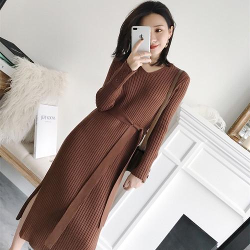 リブニット ワンピース ミモレ丈 スリット 3色 ブラウン ベージュ ブラック フェミニン デート レディース ファッション 韓国 オルチャン