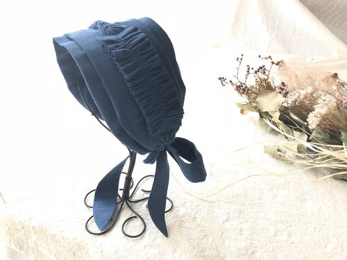 【スモーキーブルー◆ギャザーフリル】 心地よくフィットするヘアバンド