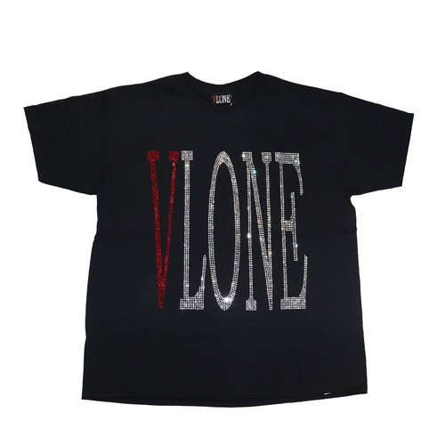 VLONE Rhinestone Logo T-Shirts BLACK × RED