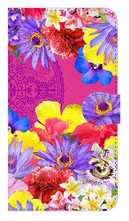 【鏡付き Mサイズ】Hawaiian Flowers Garden ハワイアンフラワーズガーデン ー Fuchsia Pink フューシャピンク 手帳型スマホケース